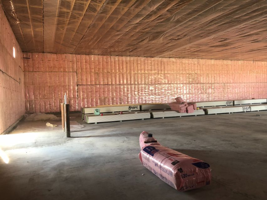 view of a commercial space after insulation