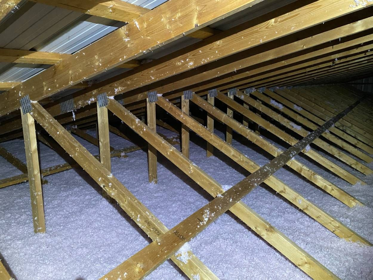 aerial view of an insulated attic