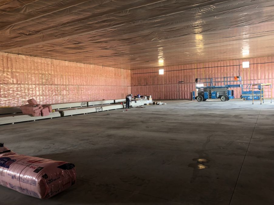 insulated ceilings and walls of a room