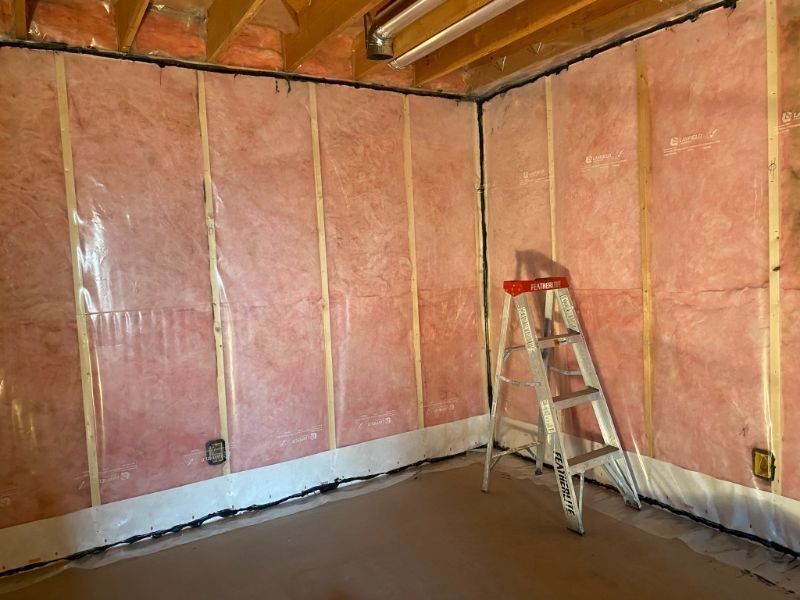 installed insulation on room wall
