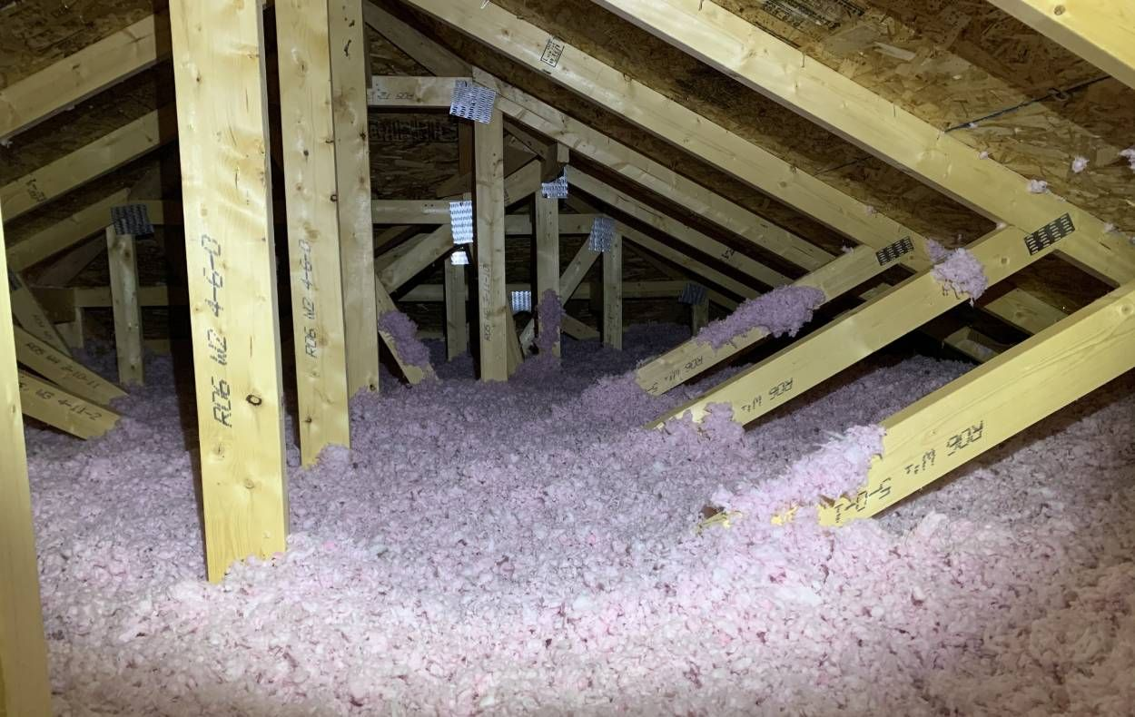 front view of an insulated attic