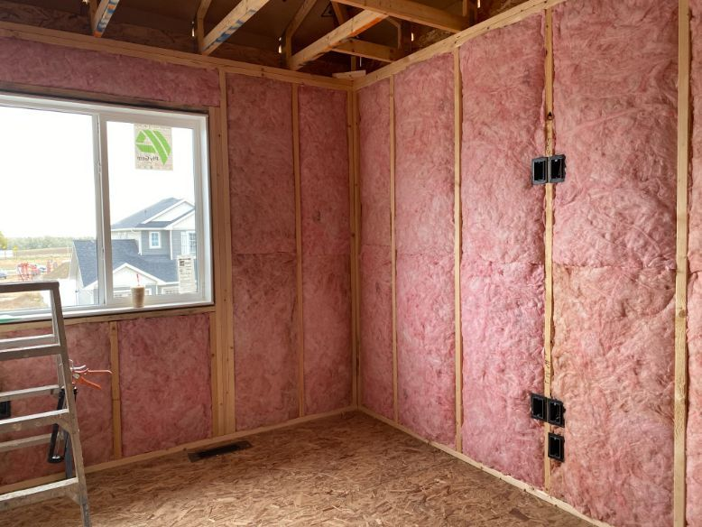 insulated walls of a room
