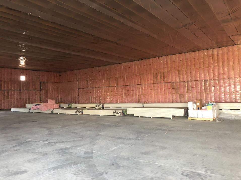 big space with insulated walls and ceiling