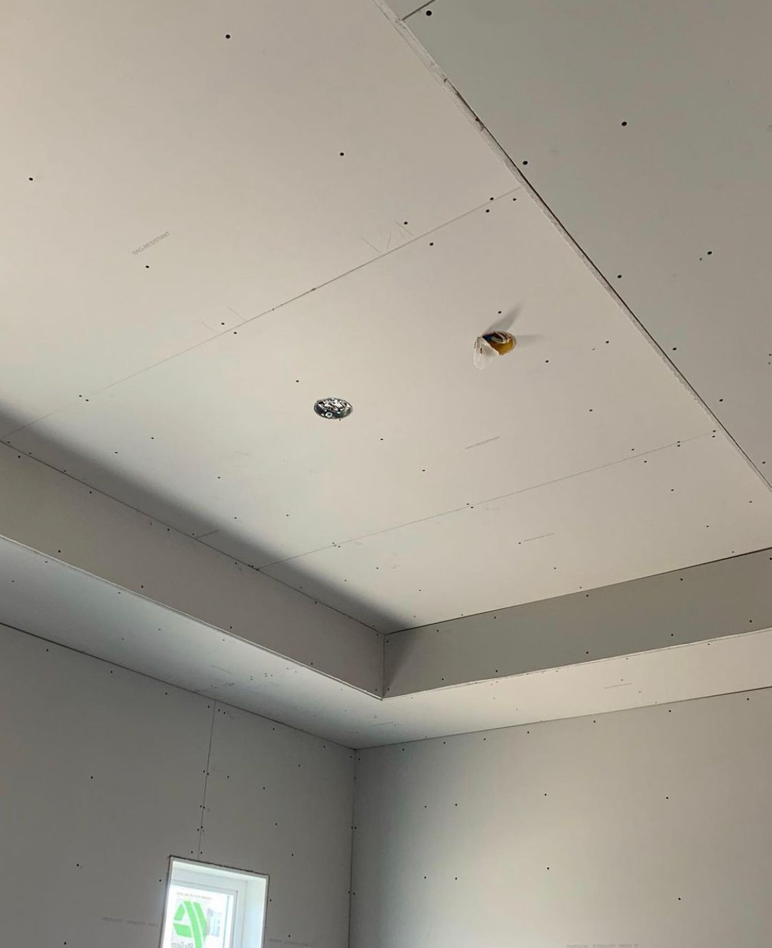 view of a ceiling before repair