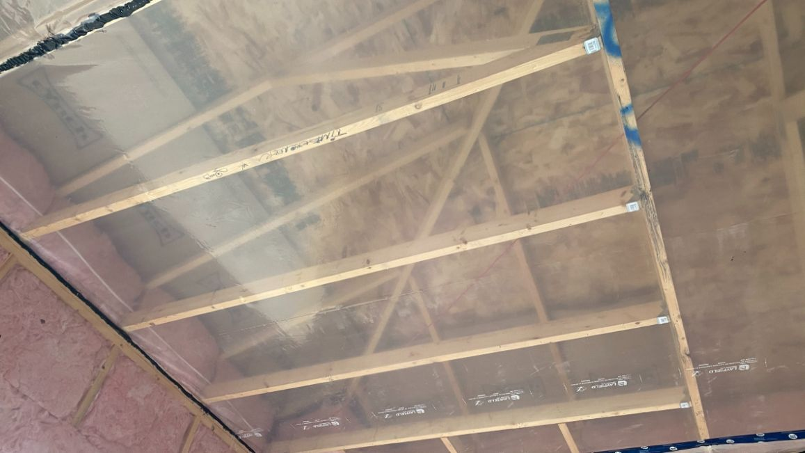 view of a ceiling before insulation